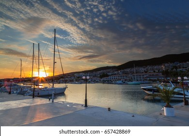 Sunset on the yacht marina in Saint Vlas, Bulgaria