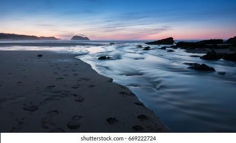 Sunset on Zarautz beach