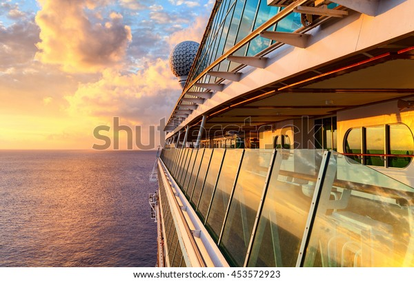 Sunset from the open deck of luxury cruise ship