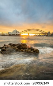 Sunset at Opera house and Harbour bridge in Sydney, New South Wales state of Australia.
