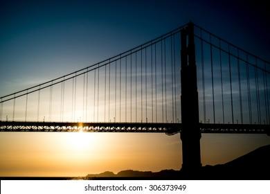 Sunset oven Golden Gates bridge,