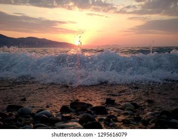 Sunset over the Adriatic sea, Vlora, Albania