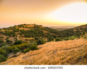 Sunset over Alentejo hills and countryside from Monsaraz, Portugal