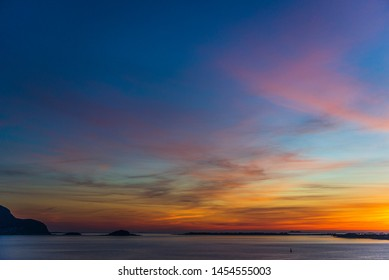 sunset over alesund seen from Fjellstua Viewpoint