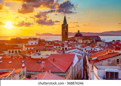 A sunset over Alghero city, Sardinia