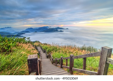 Sunset over Alishan Range, Alisan National Park, Taiwan