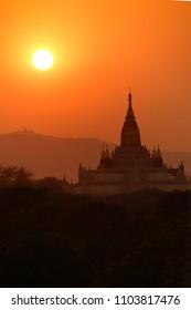 Sunset over Ananda Phaya Temple in Bagan, Myanmar (Burma)