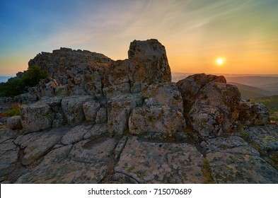 """Sunset over Ancient Megalithic Observatory """" Kokino """" - Macedonia. This observatory was ranked by """"NASA"""" on the 4-th place on the World's Ancient Observatories list."""