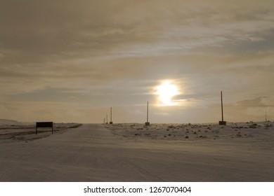 Sunset over arctic landscape near Naujaat, Nunavut Canada