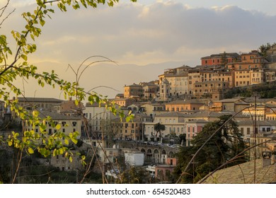 Sunset over Arpino village in central Italy