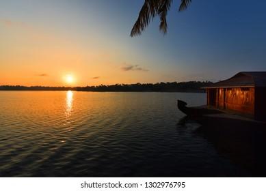 Sunset over the Ashtamudi backwaters in Kollam, Kerala. God's own country.