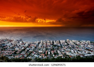 Sunset over the Atlantic Ocean at Cape Town, South Africa