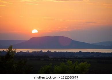 Sunset over Badacsony mountain at Lake Balaton in Hungary