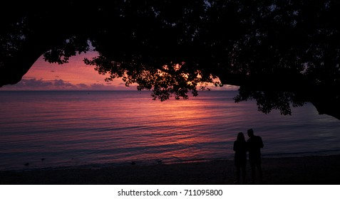 Sunset over Baie des Citrons, Noumea, New Caledonia
