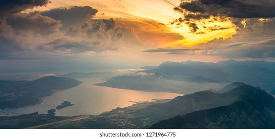 sunset over the Bay of Kotor in Montenegro