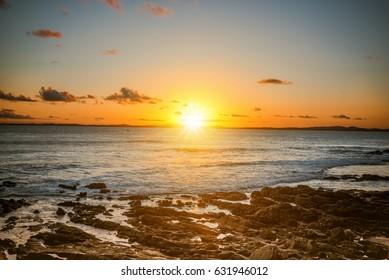 sunset over bay of Salvador da Bahia