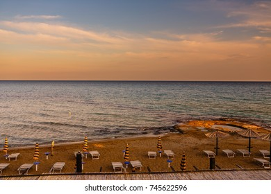 Sunset over the beach in Lido di Noto