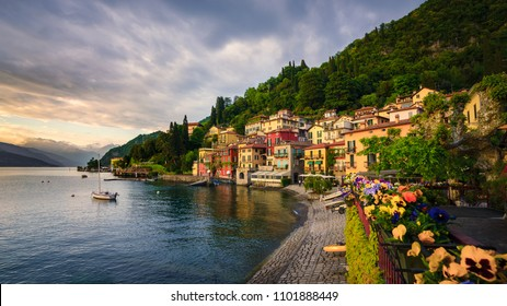 Sunset over the beautiful town of Varenna, Lake Como, Lombardy, Italy