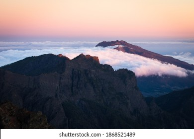 sunset over beautiful volcanic nature of canary islands