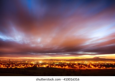 Sunset over Belfast, Northern Ireland, from the Castlereagh Hills