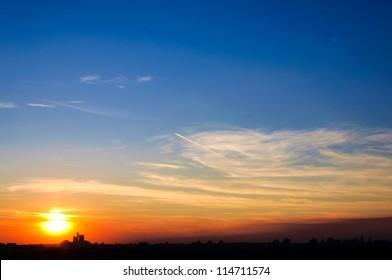 Sunset over Belgrade city