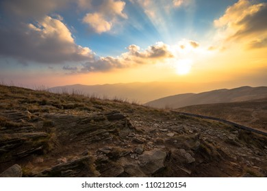 Sunset over Bieszczady Mountains, Poland