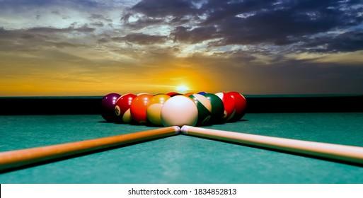 Sunset over Billiards Table Pool snooker ball