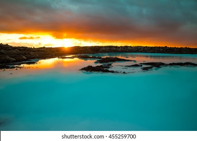 Sunset over blue lagoon Iceland