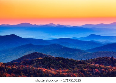 Sunset over the blue ridge Appalachian mountains in North Carolina. - Shutterstock ID 1717513825