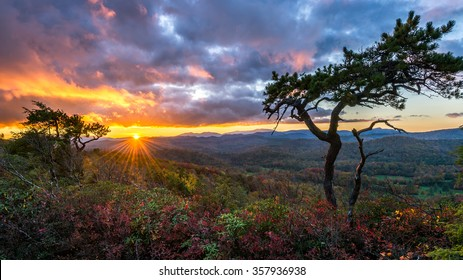 Sunset over the Blue Ridge Mountains of North Carolina from the Blue Ridge parkway