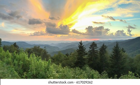 Sunset over the Blue Ridge Mountains from the Blue Ridge Parkway in Western North Carolina.