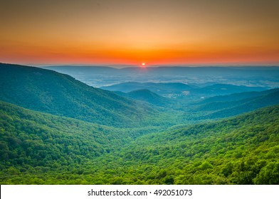 Sunset over the Blue Ridge and Shenandoah Valley from Crescent Rock Overlook, on Skyline Drive in Shenandoah National Park, Virginia
