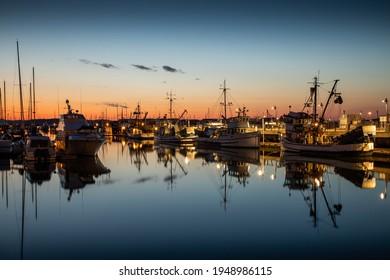 Sunset over Boats in Port Gardner Marina in Everett Washington