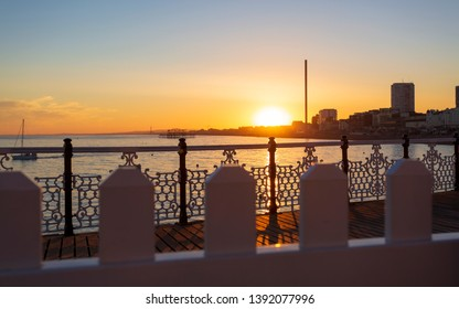 Sunset over Brighton and Hove from Palace Pier, East Sussex, England, United Kingdom, Europe
