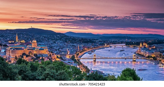 Sunset over Budapest, Hungary