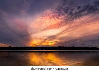 Sunset Over Budd Inlet, Puget Sound, Washington State, USA