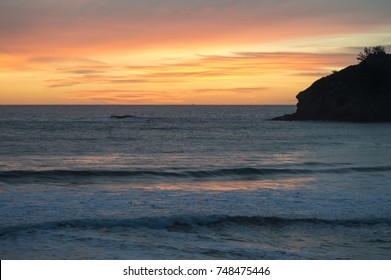 Sunset over California surf