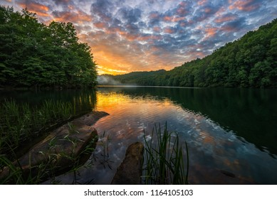 Sunset over calm waters, Appalachian Mountains