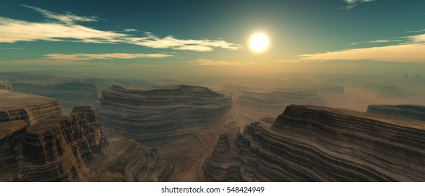 Sunset over the canyon. 3d rendering
