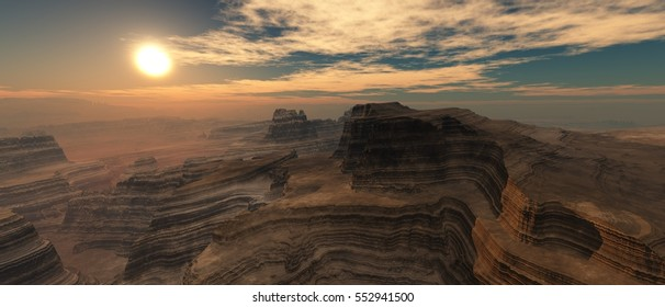 Sunset over the canyon. 3d rendering.