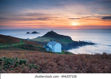 Sunset over Cape Cornwall near Land's End on the Cornish coast