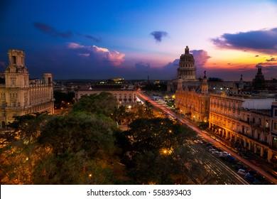Sunset over the capitolio in Havana, Cuba