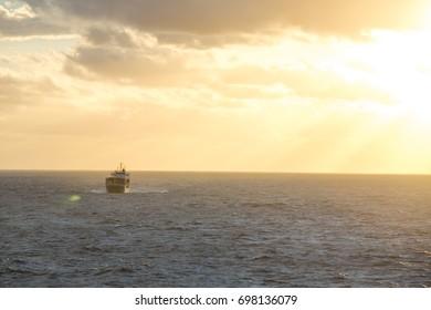 Sunset over the Caribbean Sea.
