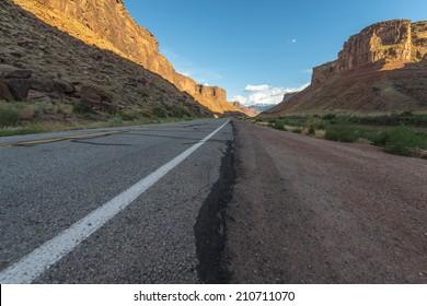 Sunset over Castle Valley road US 128 near Moab Utah