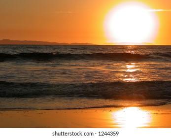 Sunset over Catalina Island from Newport Beach.