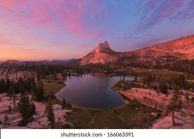 Sunset over Cathedral Peak and Cathedral Lake in Yosemite National Park.