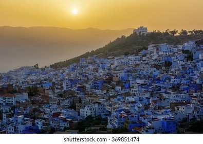 Sunset over Chefchaouen the blue city in Morocco, HDR image.