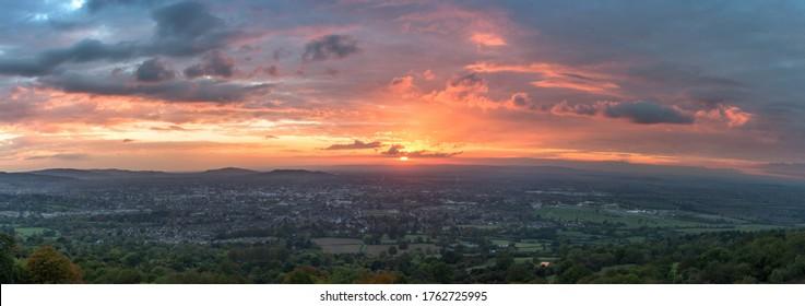 Sunset over Cheltenham from Cleeve Hill