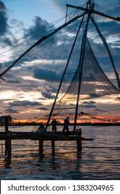 Sunset over the Chinese Fishing Nets, Cochin, Kerala, India