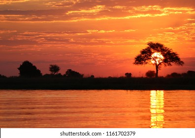 Sunset over Chobe River, Botswana